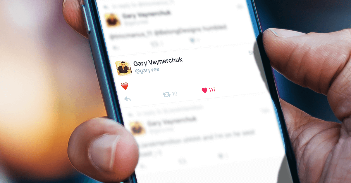Twitter update with the new heart feature