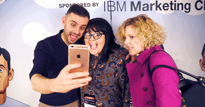 Gary Vaynerchuk takes selfies with fans at VaynerWorld London