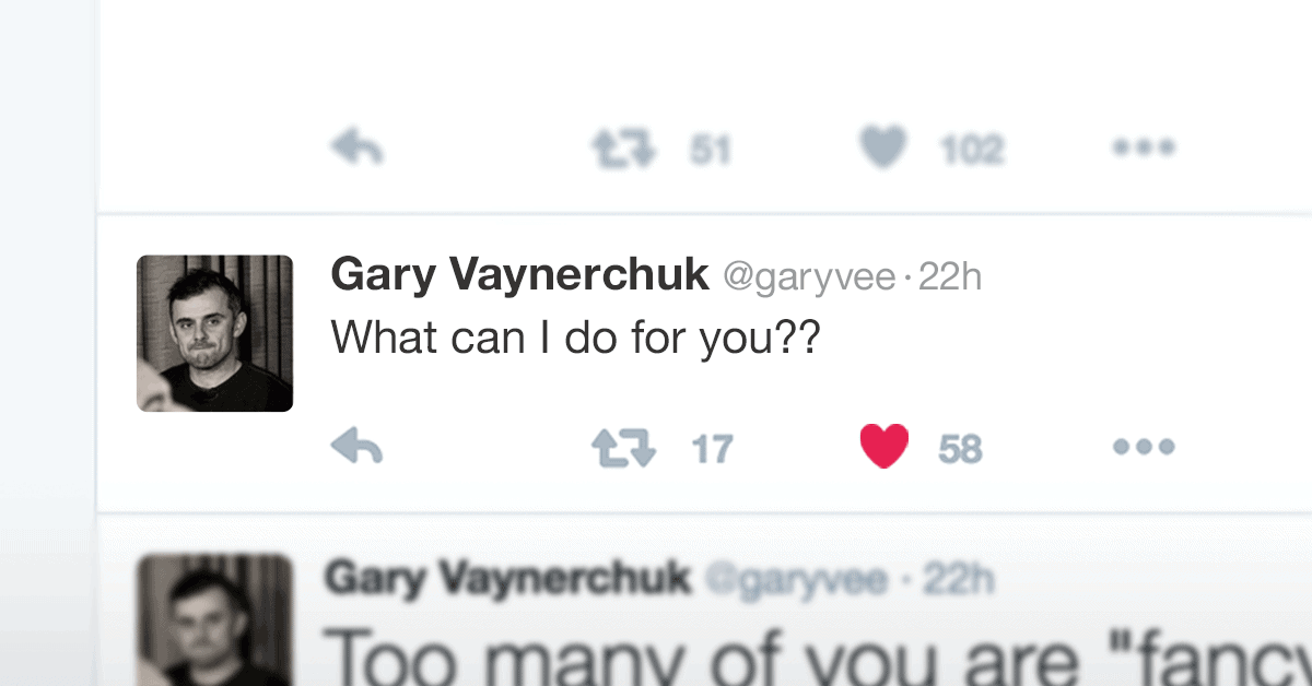 """Gary tweet """"What Can I Do For You?"""""""