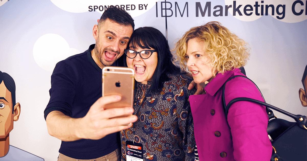 Gary Vaynerchuk takes selfies with fans at VaynerWorld London